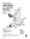 Craftsman 12 IN. COMPOUND MITER SAW 315.21222 Owner`s manual