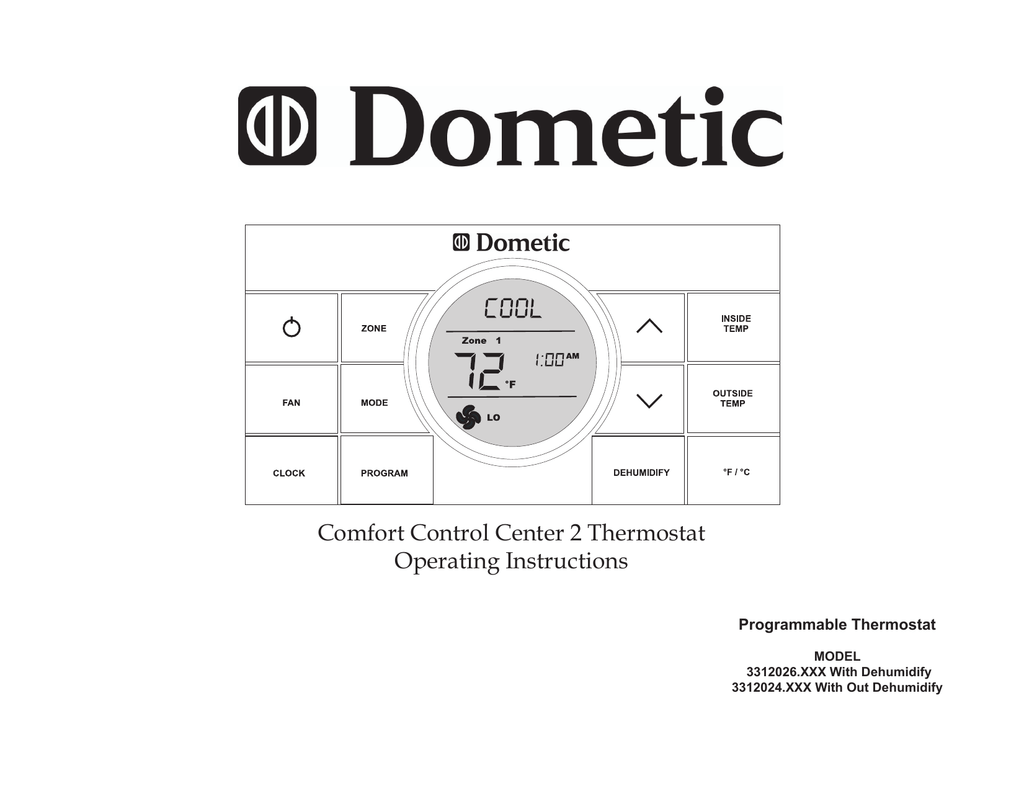 Dometic Comfort Control Center 2 Thermostat Manual Duo Therm Wiring Diagram Wire Installation