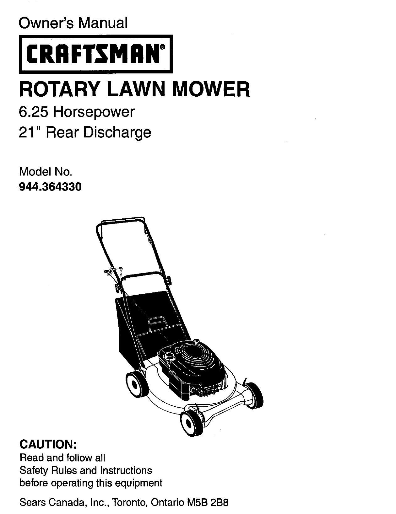 craftsman 944 364330 owner s manual rh manualzilla com Craftsman 6.75 Lawn Mower Craftsman Riding Lawn Mower Diagrams