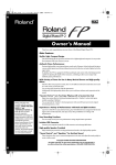 Roland FP-2 Owner`s manual