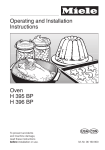 Miele OVEN H 396 BP Operating instructions