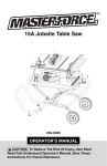 MasterForce 15A Jobsite Table Saw Operator`s manual