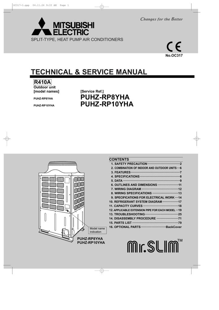 Mitsubishi Electric PUHZ-RP8YHA Service manual