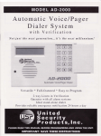 United Security Products AD-2000 Instruction manual