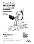 Craftsman 12 IN. COMPOUND MITER SAW 315.21222 Operator`s manual