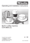 Miele Built-in coffee machine Operating instructions