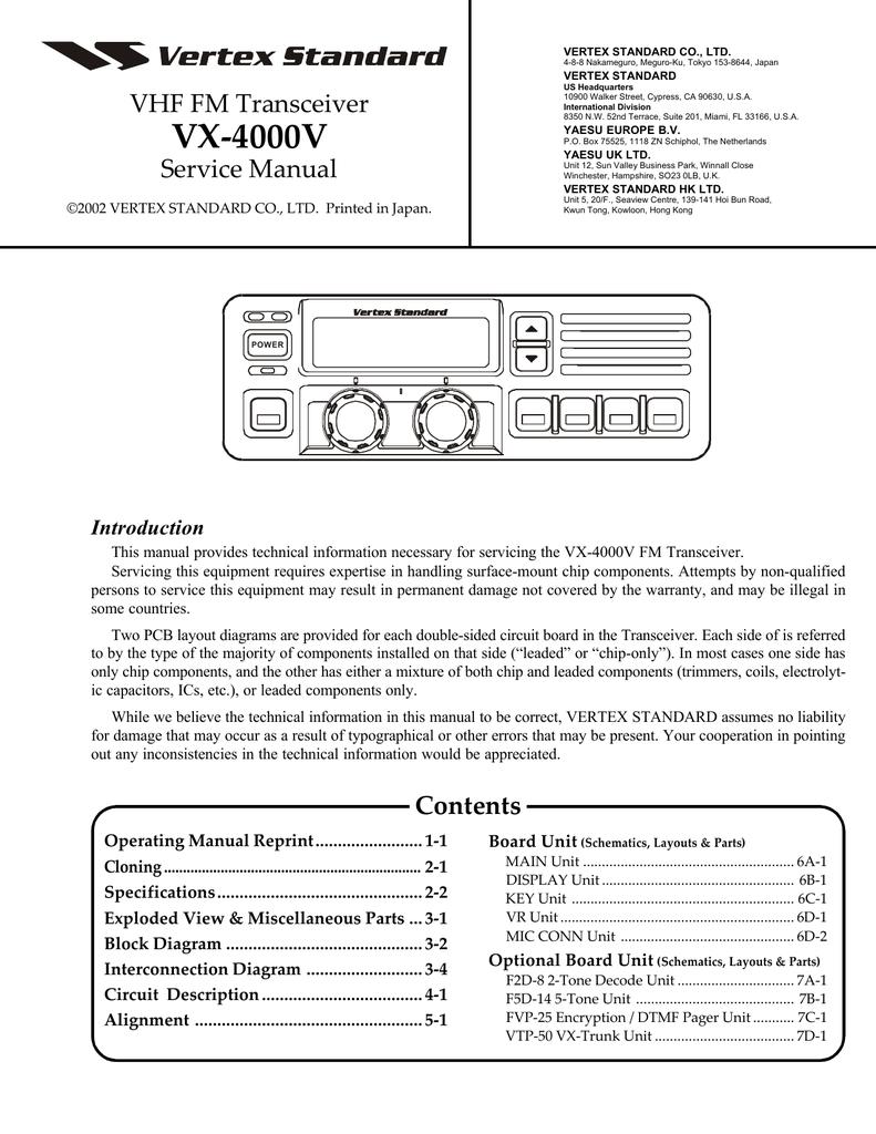 Vertex Standard Vx 4000 Service Manual Dtmf Code Fm Radio Transmission Circuit Diagram