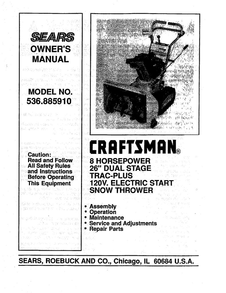 craftsman 85 26 snowblower manual