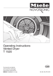Miele T 1520  VENT ED DRYER - OPERATING Operating instructions