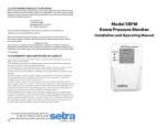 Setra Systems SRPM Operating instructions