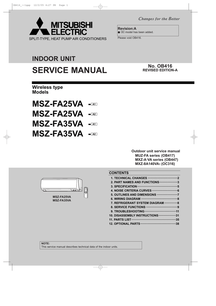 mitsubishi msz a30yv service manual rh manualzilla com mitsubishi electric technical service manual mitsubishi electric technical service manual