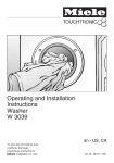 Miele W3039 Operating instructions