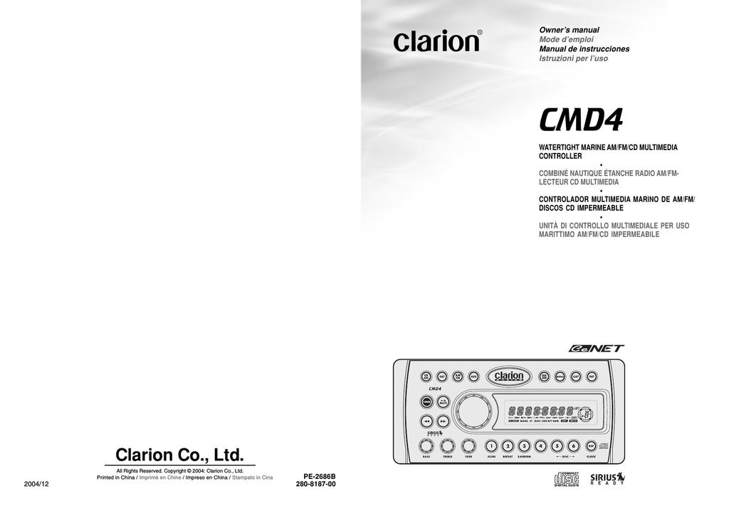CLARION DSC920S SIRIUS SATELLITE BOAT RADIO CONTROLLE