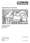 Miele G 2141 Operating instructions