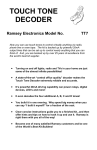 Ramsey Electronics TT1 Instruction manual
