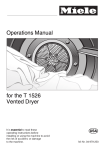 Miele T 1036  VENT ED DRYER - OPERATING Operating instructions