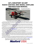 Maxford USA RC Model Nieuport 28 Specifications