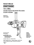 Craftsman 315.101250 Owner`s manual