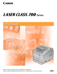 Canon Laser Class 700 Series Setup guide