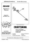 Craftsman 358.798270-32ce Important Operator`s manual