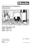Miele KWT 1611 Vi Operating instructions