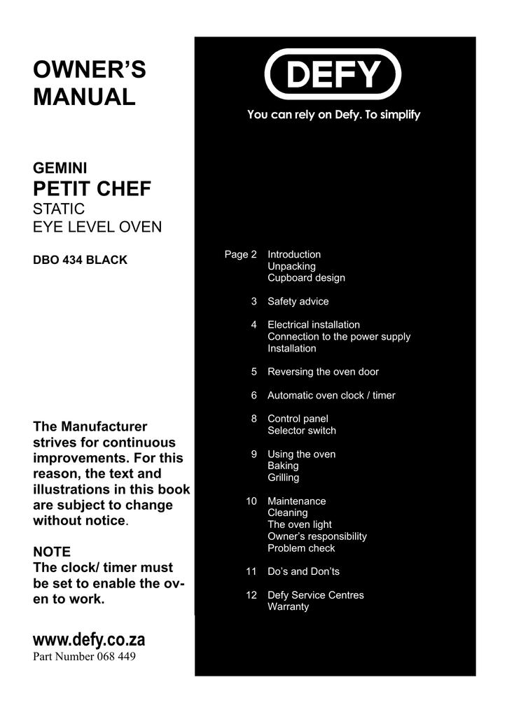 defy gemini petit chef owner s manual rh manualzilla com defy gemini double oven instruction manual defy gemini petit oven manual
