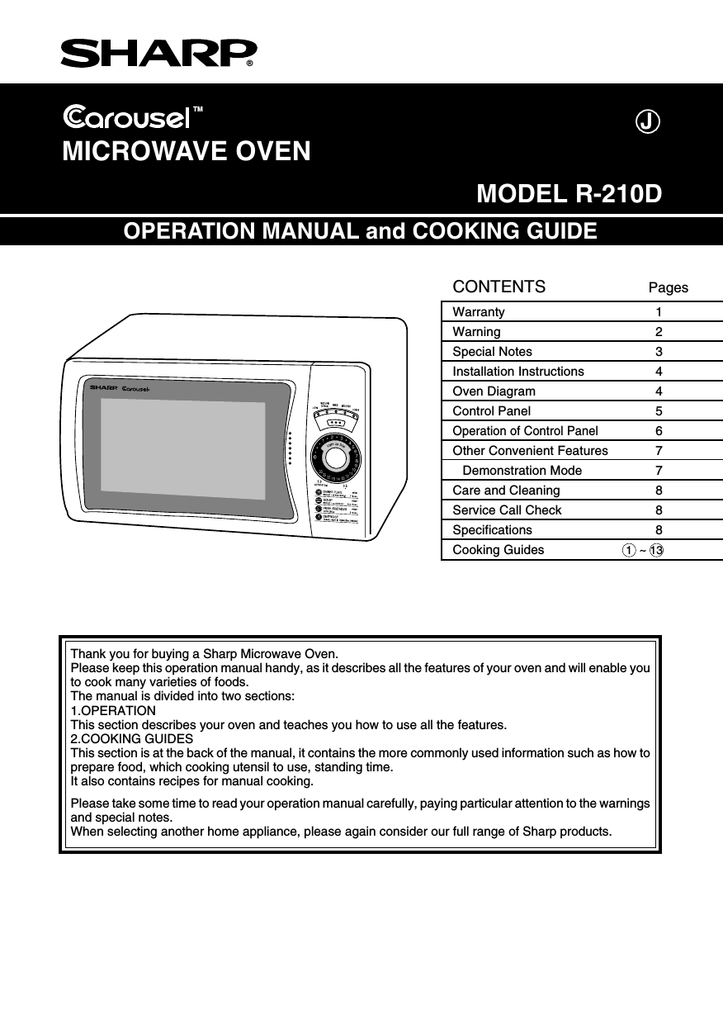 Sharp R 210d Specifications