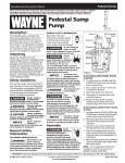 Wayne SSPTU50 Operating instructions