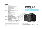 Canon EOS 10D - Digital Camera SLR Instruction manual