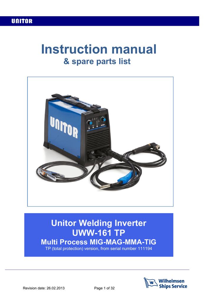 Unitor UWW-161 TP Instruction manual