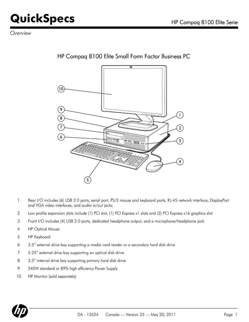 HP 8100 - Elite Convertible Minitower PC QuickSpecs