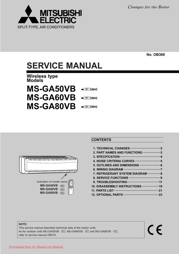 mitsubishi electric mu a18wv e1 service manual rh manualzilla com mitsubishi electric puhy service manual mitsubishi electric aircon service manual