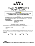 Rolair OILLESS AIR COMPRESSOR Owner`s manual