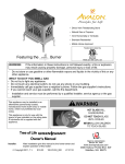 Avalon Direct Vent Freestanding Stove Owner`s manual