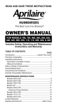Aprilaire 550 Owner`s manual