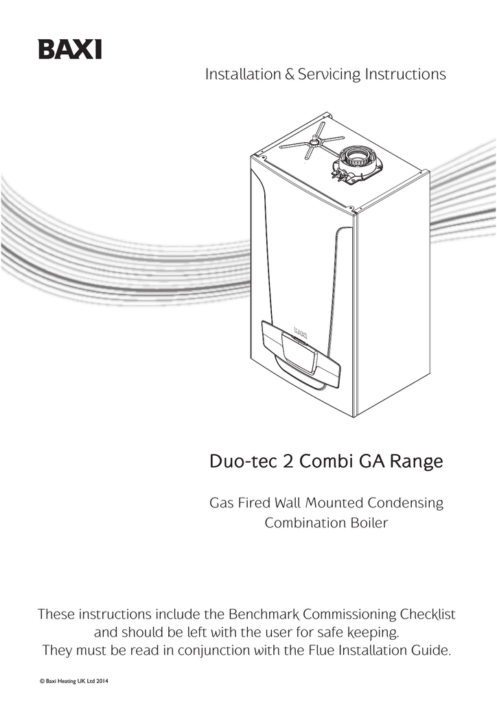 Baxi Duo-tec 2 Combi 24 GA Installation guide