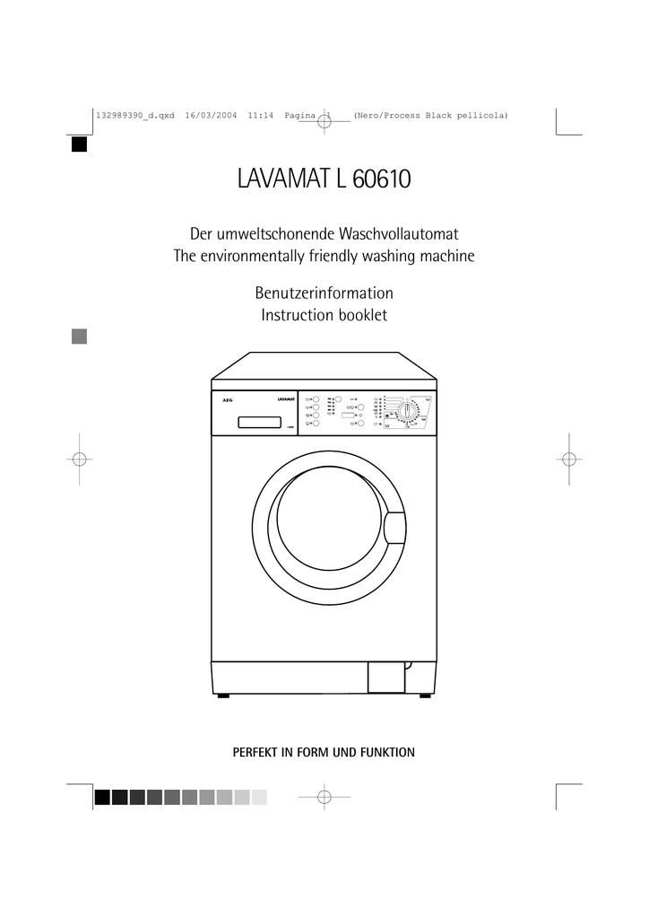 Aeg Lavamat 60610 Operating Instructions Washing Machine Wiring Diagram