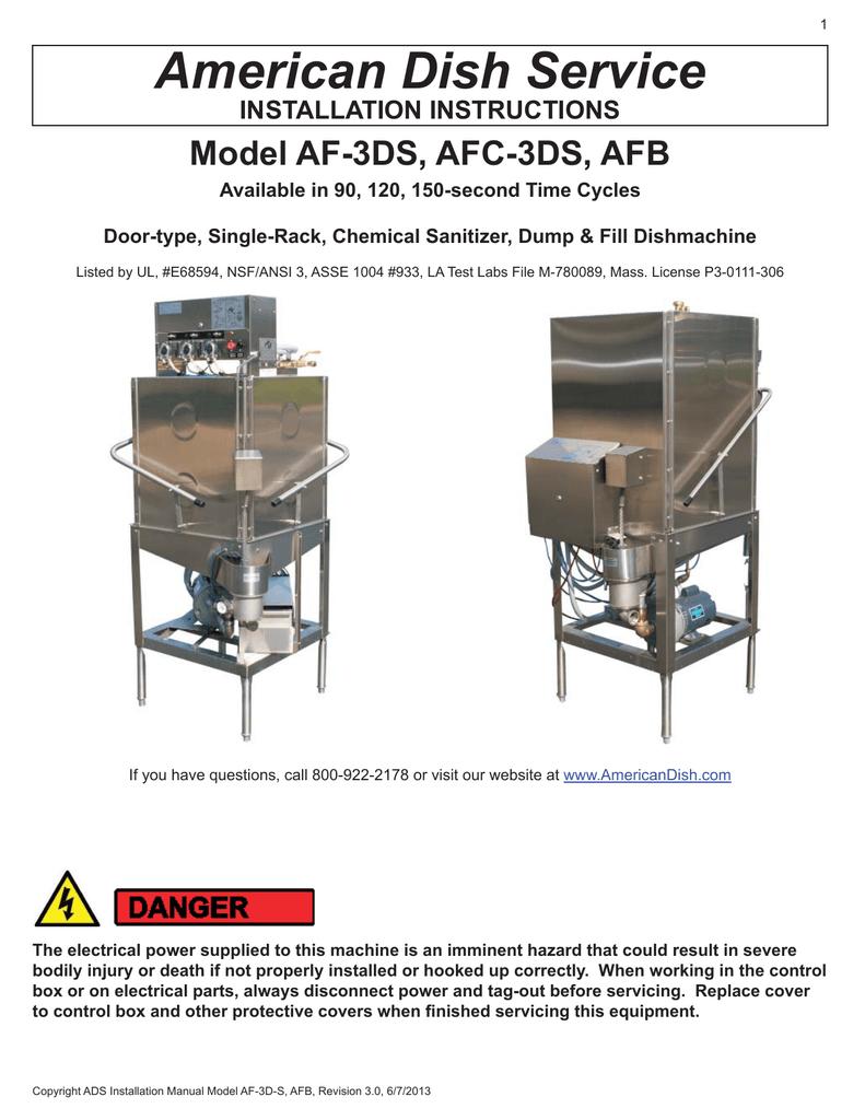 American Dish Service AFB Installation manual   Ads Dish Machine Wiring Diagram      manualzilla.com