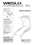Weslo compact XL User`s manual