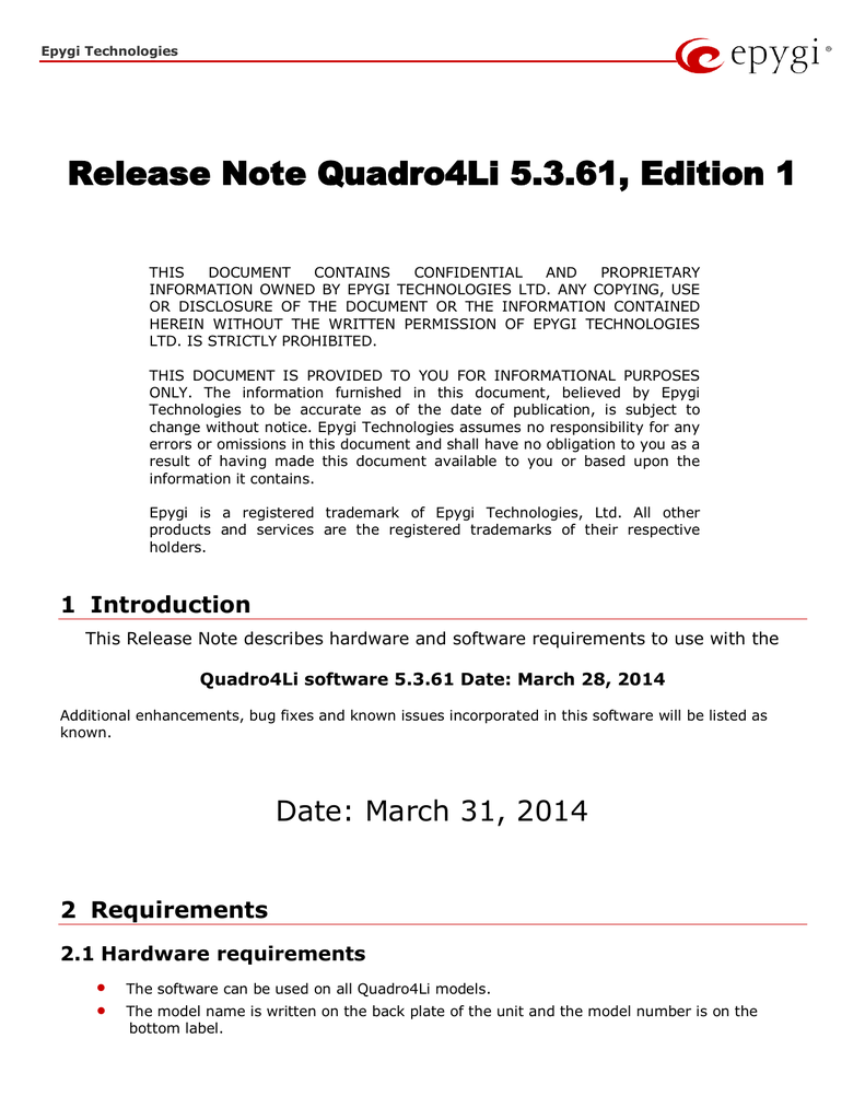 Release Note Quadro4Li 5 3 61, Edition 1