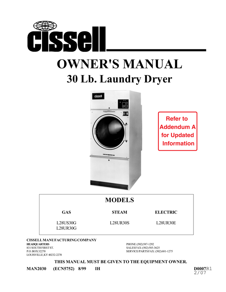 Cissell L28ur30e Owners Manual Wiring Diagrams