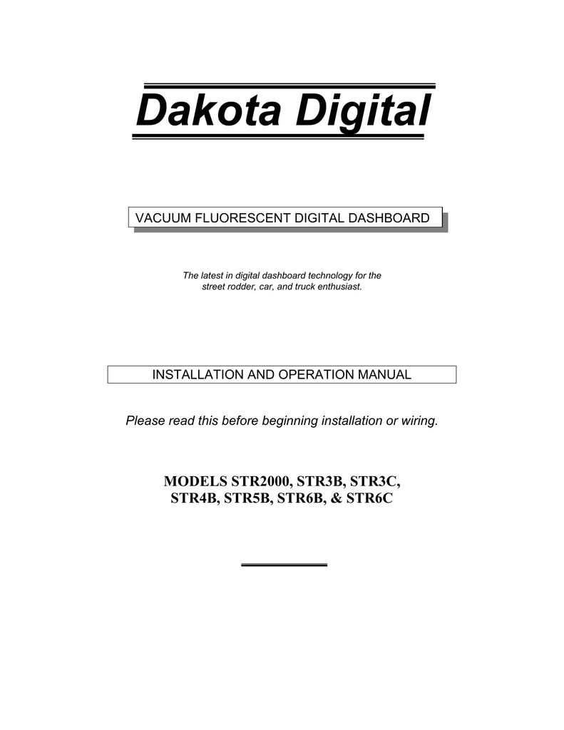 Dakota Digital Wiring Diagram Hly 5000x Trusted Diagrams Wesbar Str6d Service Manual