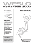 Weslo Momentum 2000 Elliptical User`s manual
