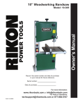 Rikon Power Tools 10-110B Owner`s manual