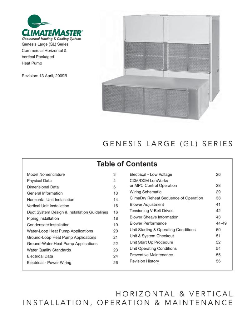 Climatemaster Oe Series Unit Installation Genesis Vertical Lift Wiring Diagram