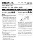 Trash compactor installation, use & care guide reAd And sAve