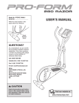 ProForm 280 Razor Elliptical User`s manual