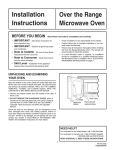 Installation Instructions Over the Range Microwave Oven