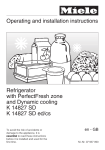 Operating and installation instructions Refrigerator with