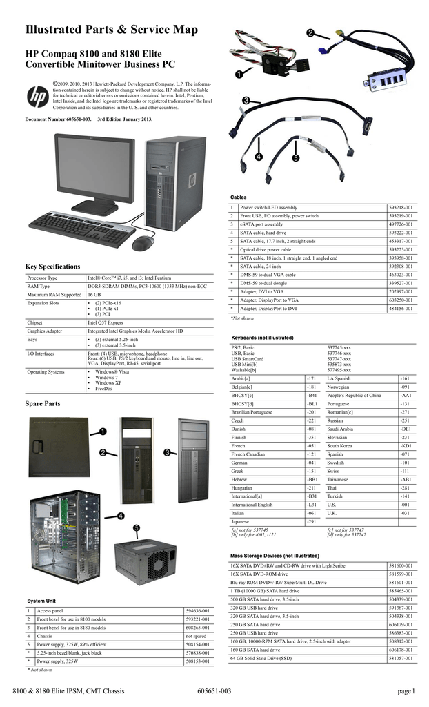 HP 8100 - Elite Convertible Minitower PC Specifications